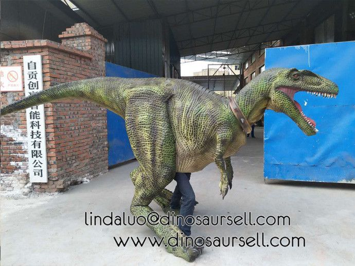 2018 hot sales new green realistic raptor dinosaur costume